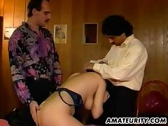 Doggy style penetration process for the busty vintage senorita