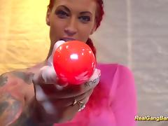 tattooed redhead loves hard gangbang tube porn video