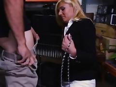 Hot blonde milf screwed in storage room