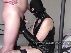Handcuffs, Amateur, BDSM, Gloves, Handjob, Leather