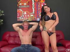 Rachele lays back on the couch so he can drive his cock deep porn tube video