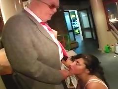 young slut blowjob old man on hotel lobby