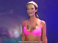 Viktoria lets several guys cum in her mouth at the same time