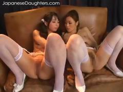 Japanese girls kiss in lingerie tube porn video