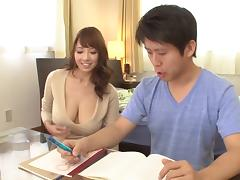 Delivery guy fucks this glorious big tits Asian babe tube porn video