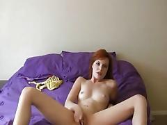 Randy redhead masturbating