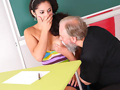 TrickyOldTeacher - Hot student fucked doggie style by older teacher to pass class porn tube video