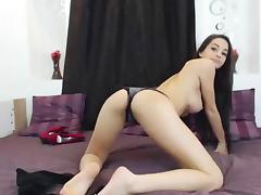 Super hot chick and her pink dildo