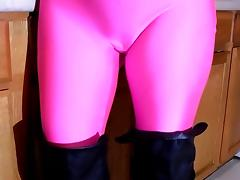 Spandex Angel - Shiny boobs pink catsuit tube porn video