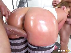 Oiled bimbo slut Phoenix Marie double penetrated hard porn tube video