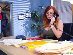 Fake tits slut Dani Jensen fucked in the office tube porn video
