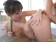 Seductive babes engage in their very first lesbian scissoring session tube porn video
