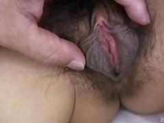 Asian MILF with a very hairy pussy get slammed from behind porn tube video