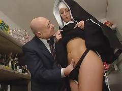 Old Man, Dirty, European, Lingerie, Nun, Old Man