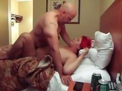 Fat wife gets shared in the hotel room