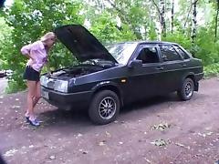 Car, Big Tits, Blonde, Car, College, Russian