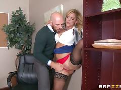Tremendously busty blonde boss gets fucked in the office