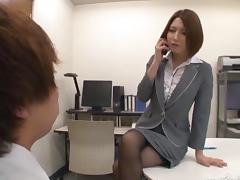 Astonishing Japanese brunette gives a stunning handjob in the office porn tube video