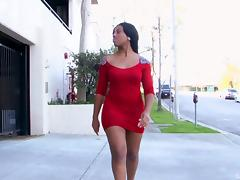 Slutty skintight dress is mind blowing on the curvy black girl porn tube video
