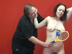 Amateur slave Beauvoirs extreme tit torture and electro BDSM tube porn video