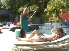 Bathing beauty hooks up with a hot lesbian mommy