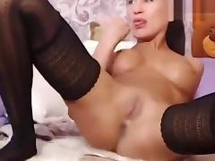 Brunette Malinowskaya in a black sexy dress porn tube video