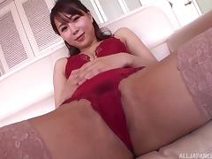 Divine Asian beauty rides the kinky dildo and sucks the stiff dick porn tube video