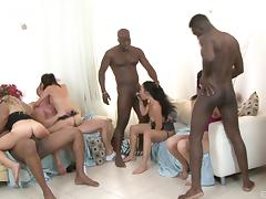 Big black dicks and dirty sluts have an interracial orgy