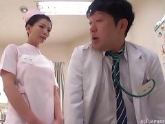 Flamboyant nurse from Japan is ready to ride the patient's stiff cock porn tube video
