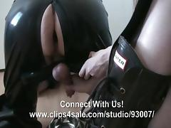 Milking Rubber Slave Into Bowl