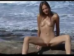 Nude Beach - Hot Brunette Video Shoot