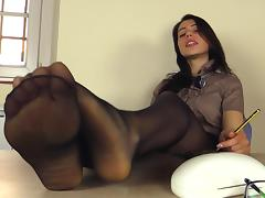 Shiny high heels come off so she can tease her nylon feet