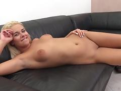 Tight shaved cunt on a blonde looks good around his dick porn tube video