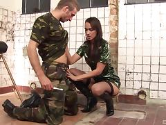Army girl in sexy leather boots pounded by a fit guy tube porn video