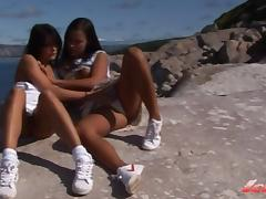 Two collague girls from Norway having outdoor fun porn tube video