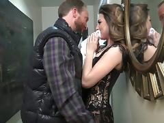 Beauty dresses in leather and lace to seduce her man porn tube video