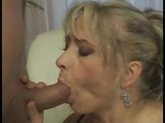 Mature busty chick takes advantage of her neighbor's cock