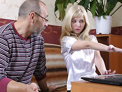 TrickyOldTeacher - Private tutor lesson turns blonde student to fuck and get cum facial
