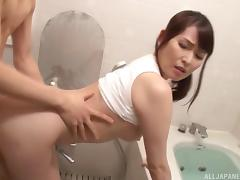 Pretty Japanese babe gets her fuck on in a bathroom porn tube video