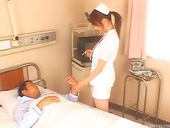Sexy Japanese nurse blows a patient and rides his dick