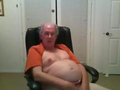 grandpa stroke and cum in his bedroom