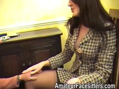 Posh Rose facesits an eager guy in her business suit tube porn video