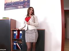 Appealing senorita allows her co-workers to give her a good banging