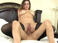 Naturally curvy chick with big tits grinds her pussy on his cock tube porn video