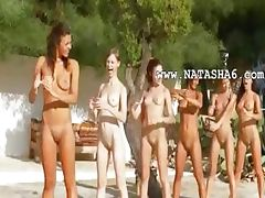 Six naked girls by the pool from france tube porn video