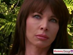 Cougar stepmom fucks young couple