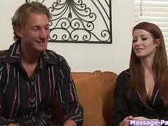 Pretty redheaded spa girl gives him a massage for the ages