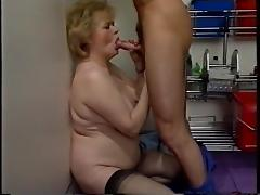 Blonde hairy granny masturbating and fucked porn tube video