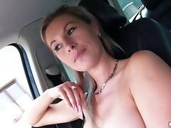 Milf hitchhiker blows him in the car and gets fucked