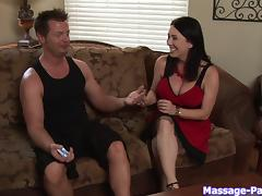 Intensely sexy handjob from the big breasted masseuse babe
